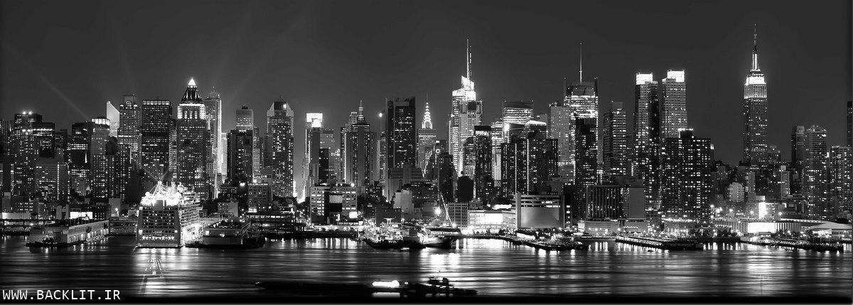لایت باکس مناظر شهری سیاه و سفید